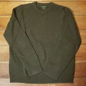 Express Tweed Green Crew Neck Lambs Wool Sweater